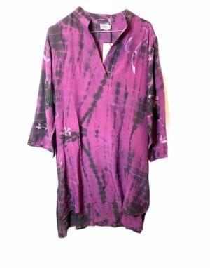 Vintage sarisilk shirtdress lilla dip dye M/L