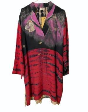 Vintage sarisilk shirtdress orient dip dye 2XL