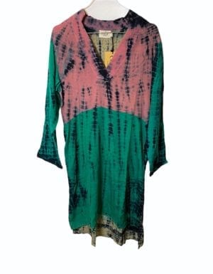Vintage sarisilk shirtdress multi dip dye Small