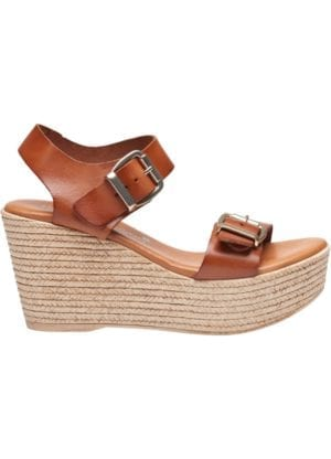 "Susanne sandal wedges Cognac ""PREORDER"""