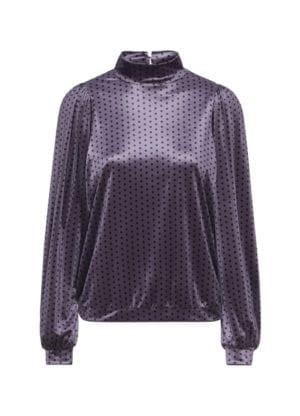 Maddie Velour Blouse Lavender dots