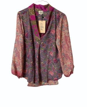 V-neck shirt sarisilk M/L pink/rose mix