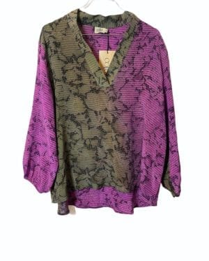 V-neck shirt sarisilk M/L purple/army mix