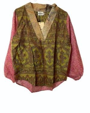 V-neck shirt sarisilk S/M pink army mix