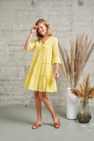 Dress Tulle Yellow embrodery 21179