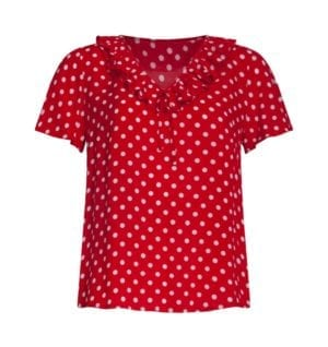 Blouse Red polka dots 21038