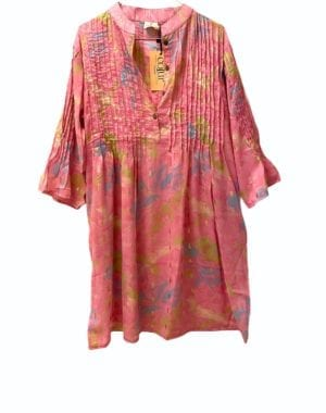 Vintage sarisilk City dress Bubblegum chiffon M/L