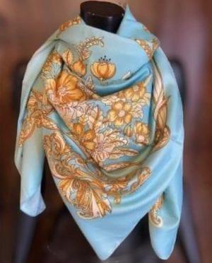 Big Silk scarf pastelblue/gold
