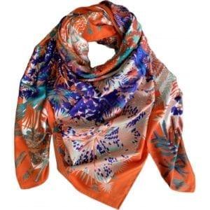 Big Silk scarf orange/purple