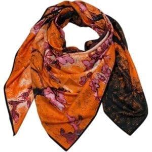 Big Silk scarf orange/black