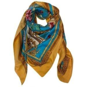 Big Silk scarf yellow/blue