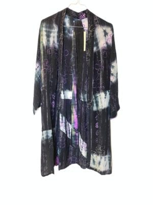Vintage sarisilk short kimono Dip dye Black Onesize