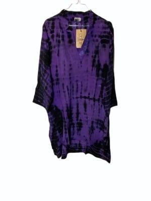 Vintage sarisilk shirtdress Purple Dip dye XL