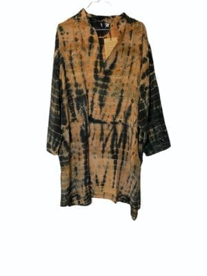 Vintage sarisilk shirtdress Nude/black Dip dye 2XL