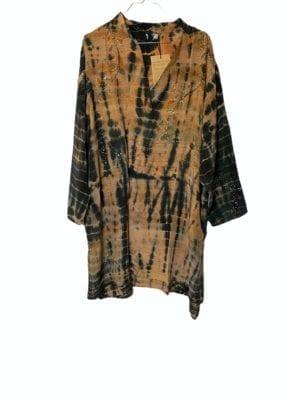 Vintage sarisilk shirtdress Nude/black Dip dye 2XL