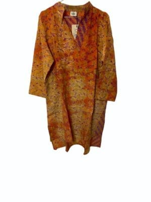 Vintage sarisilk shirtdress Orange palliet M/L