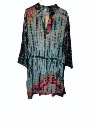 Vintage sarisilk shirtdress Multi Dip dye XL