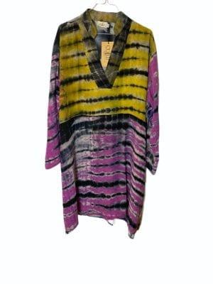 Vintage sarisilk shirtdress Multi Dip dye 2XL