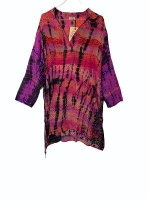 Vintage sarisilk shirtdress Pink Dip dye 2XL