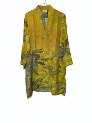 Vintage sarisilk shirtdress Yellow mix M/L