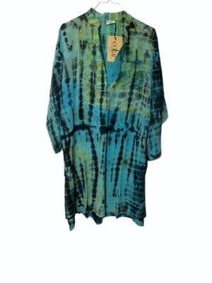 Vintage sarisilk shirtdress Turqoise Dip dye XL