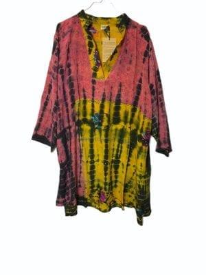 Vintage sarisilk shirtdress Pink/yellow Dip dye 2XL