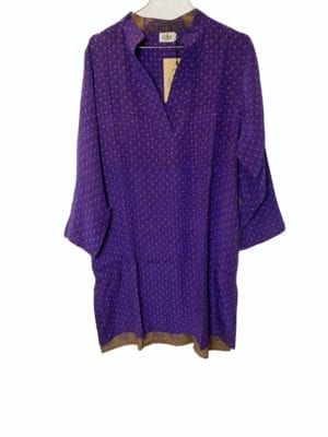 Vintage sarisilk shirtdress Purple stone M/L
