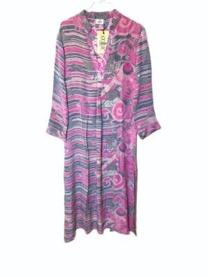 Vintage sarisilk Goa maxidress grey/rose Small
