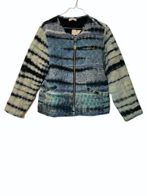 Vintage sarisilk Quilt jacket Grey dip dye M/L