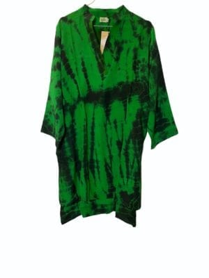 Vintage sarisilk shirtdress Green dip dye M/L