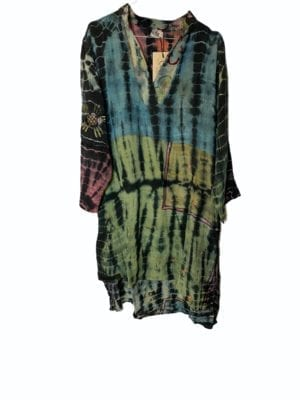 Vintage sarisilk shirtdress Embrodery Multi dip dye M/L