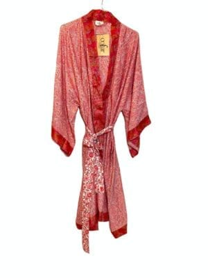 Vintage sarisilk Dubai kimono Pink Onesize