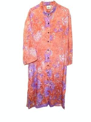 Vintage sarisilk Vienna shirtdress Satin Coral/lavendler S/M