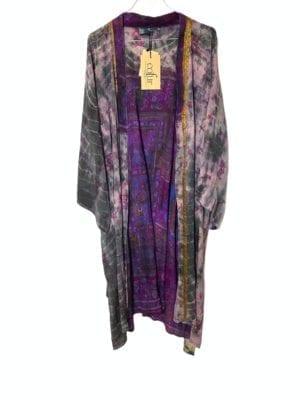 Vintage sarisilk Dubai kimono Dip dye black/Purple Onesize
