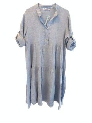 Rose dress linen Dusty Blue