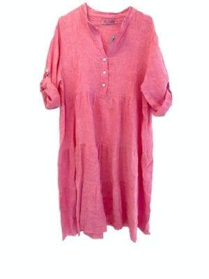 Rose dress linen Bubblegum