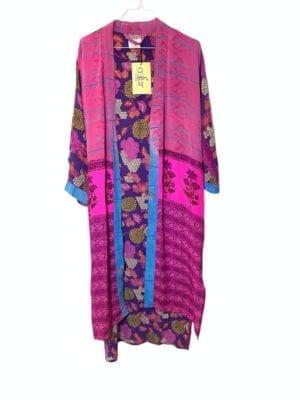 Vintage sarisilk Long kimono Pink/Purple mix Onesize