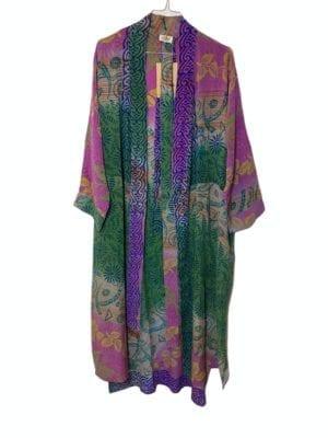 Vintage sarisilk Long kimono Green/Pink mix Onesize