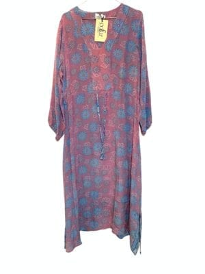 Vintage sarisilk maxidress long sleeve dusty rose/blue M/L
