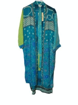 Vintage sarisilk Long kimono Green/Blue mix Onesize