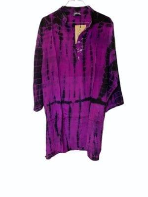 Vintage sarisilk shirtdress Fuchia dip dye M/L