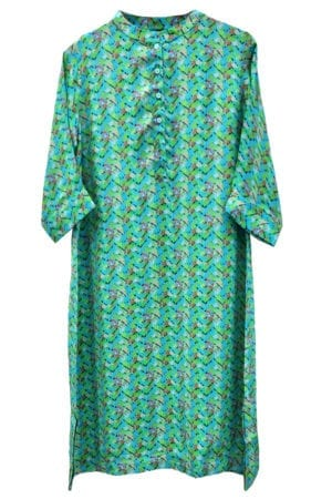Jennifer dress silk Pagoda line green