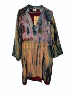 Vintage sarisilk shirtdress Burgundy Dip dye XL