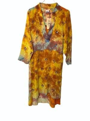Vintage sarisilk shirtdress Orange mix soft dipdye S/M