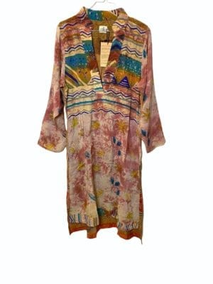 Vintage sarisilk shirtdress soft dipdye S/M
