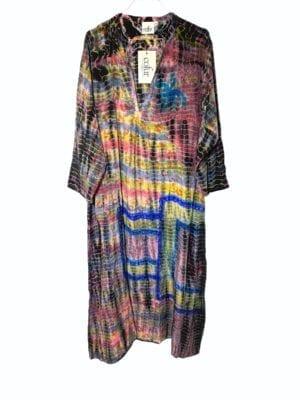 Vintage sarisilk Goa maxidress Multi dip dye S/M