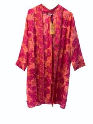 Vintage sarisilk short kimono Pink Rose onesize