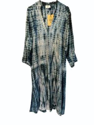 Vintage sarisilk Goa maxidress Black/grey embrodery dip dye M/L