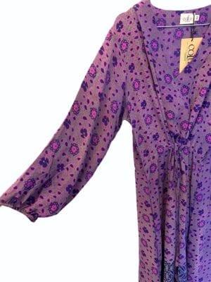 Vintage sarisilk maxidress long sleeve Purple M/L