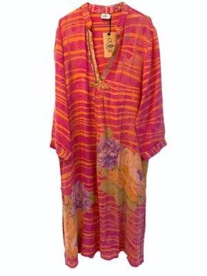 Vintage sarisilk Goa maxidress Pink/apricot XL